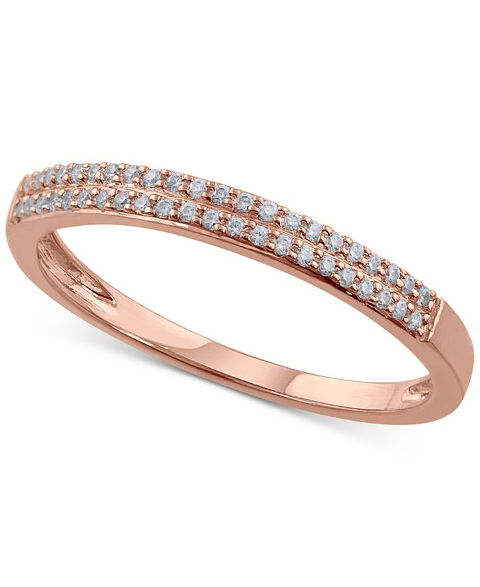 Macy's - Diamond Double Row Band (1/6 ct. t.w.) in 14k Rose Gold