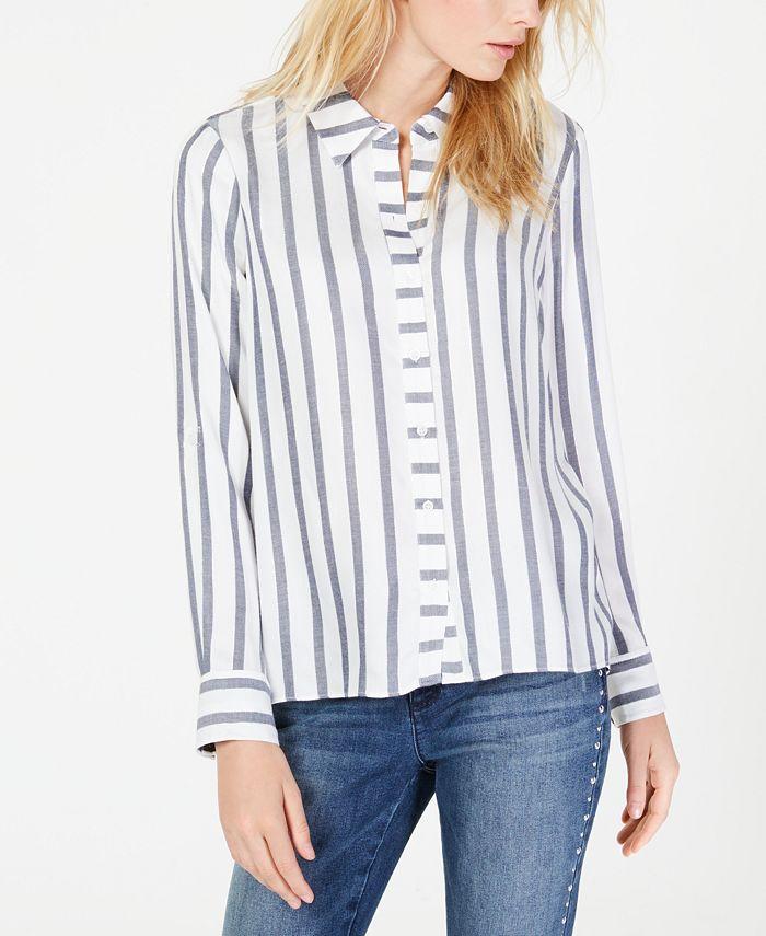 INC International Concepts - Metallic-Stripe Shirt