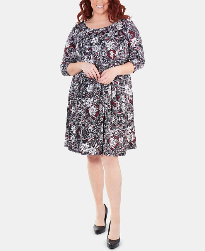 NY Collection - Plus Size Printed Box-Pleated Dress