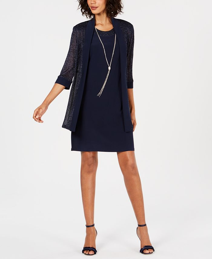 R & M Richards - Necklace Dress & Metallic-Trim Jacket