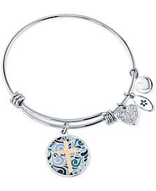 Unwritten Cross Message & Heart Charm Bangle Bracelet in Stainless Steel & Rose Gold-Tone with Silver Plated Charms