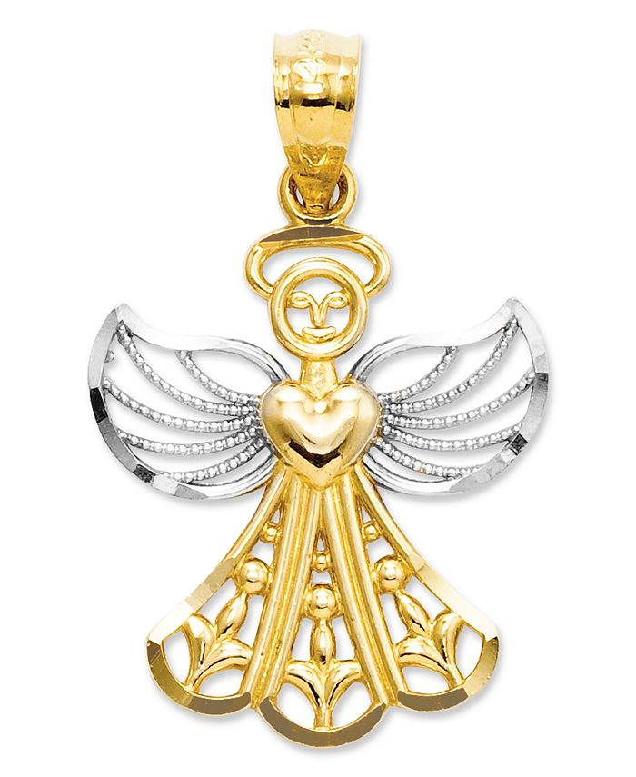 Macy's - 14k Gold and Sterling Silver Charm, Filigree Angel Charm