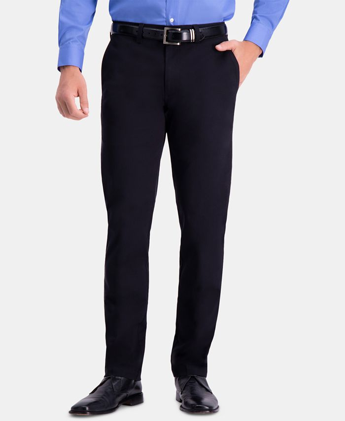 Haggar - Men's Premium Comfort Khaki Slim-Fit 2-Way Stretch Wrinkle-Resistant Flat-Front Casual Pants