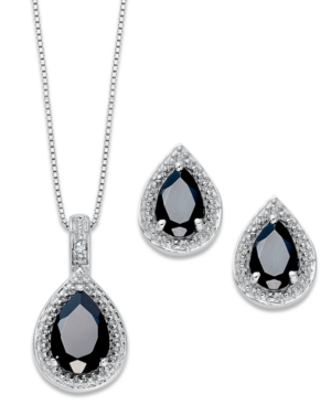 Sterling Silver Jewelry Set, Onyx (4-1/5 ct. t.w.) and Diamond Accent Teardrop Pendant and Stud Earrings