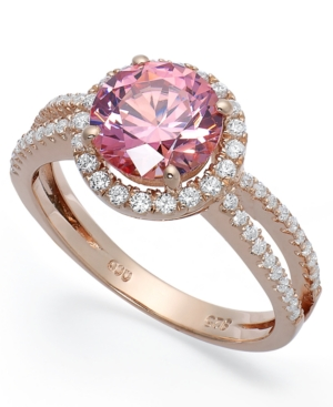 Pink Cubic Zirconia Ring in 14k Rose Gold over Sterling Silver