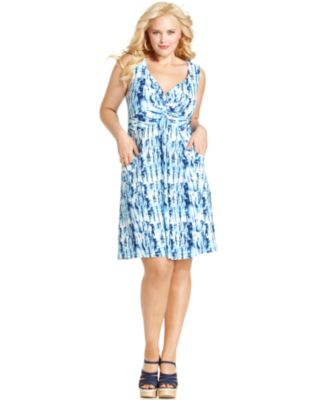 Style&co. Plus Size Dress Sleeveless Printed Knotted Front