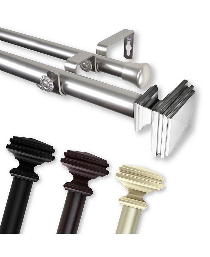 "Rod Desyne - Bedpost Double Curtain Rod 1"" OD 160-240 inch - Black"