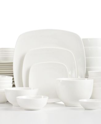 White Elements Dinnerware, Hampton Square 42-Piece Set