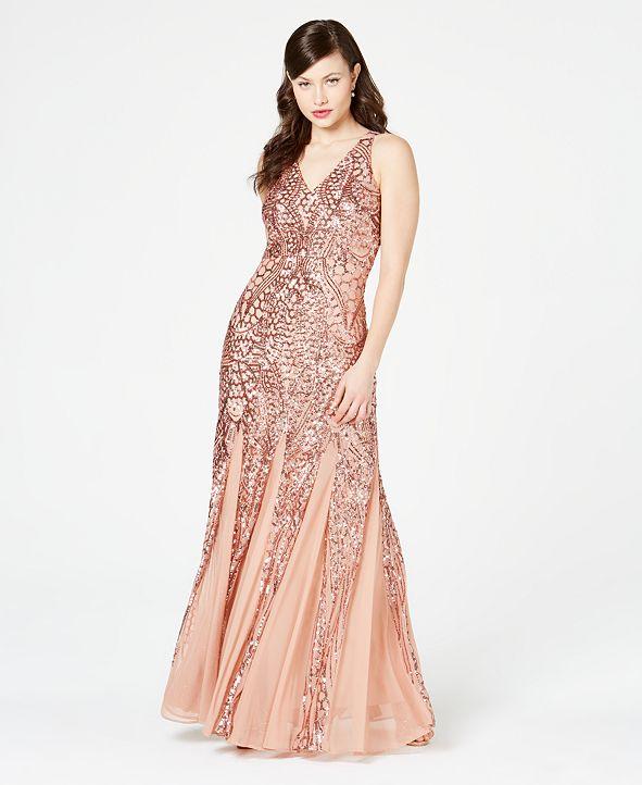 Nightway Petite Size Sleeveless Sequin Gown