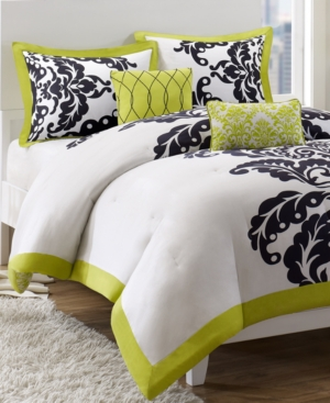 Mallorie 5 piece king duvet cover set bedding - Black and lime green bedding ...