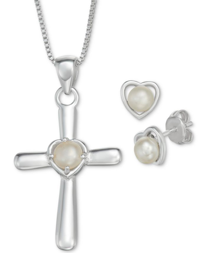 """Macy's Cultured Freshwater Pearl Cross 18"""" Pendant Necklace and Heart Stud Earrings Set in Sterling Silver & Reviews - Jewelry & Watches - Macy's"""
