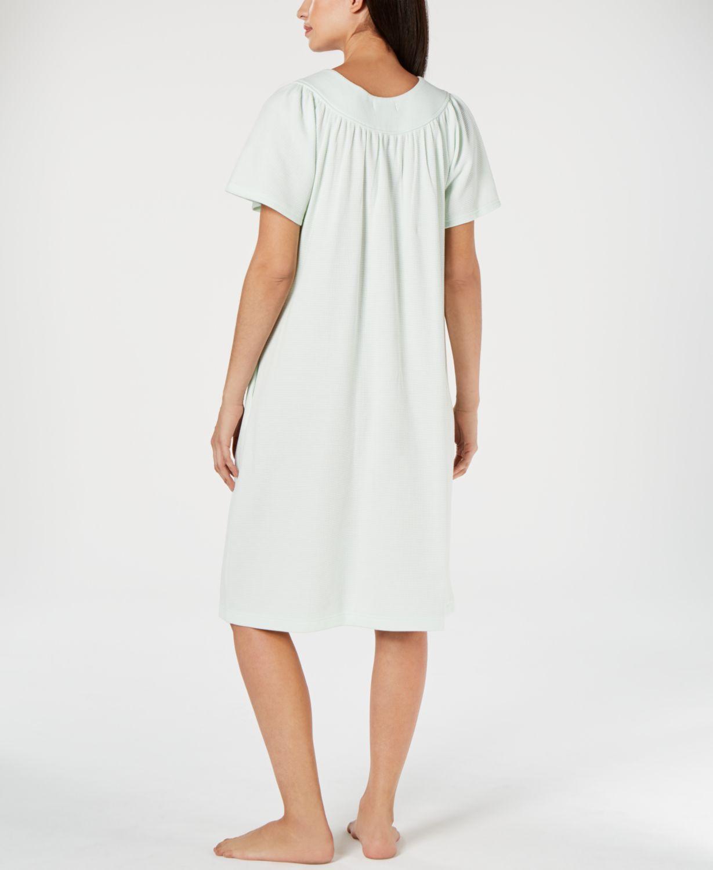 Miss Elaine Flower-Embroidery Waffle-Knit Gripper Robe  & Reviews - Bras, Panties & Lingerie - Women - Macy's