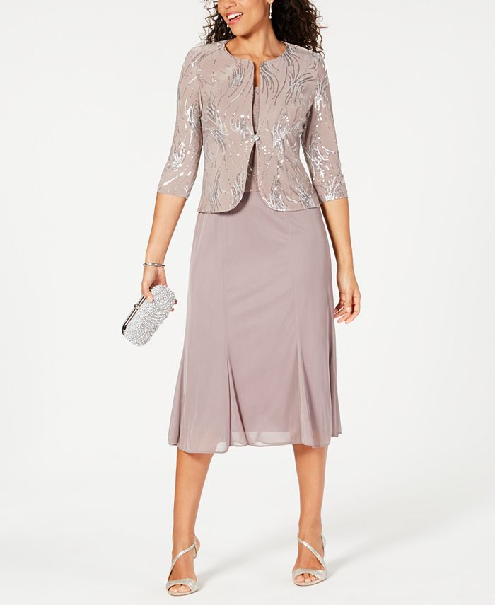 Alex Evenings - Sleeveless Sequin Midi Dress and Jacket
