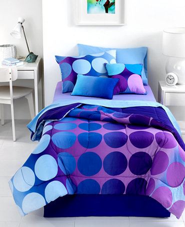 Dot allure 4 piece comforter sets bed in a bag bed - Purple and blue comforter sets ...