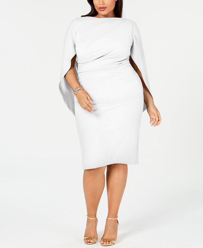 Betsy & Adam - Plus Size Ruched Cape Dress