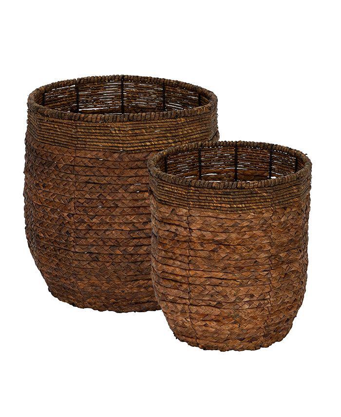 Household Essentials - Rimmed Blended-Weave Wicker Baskets, Set of 2
