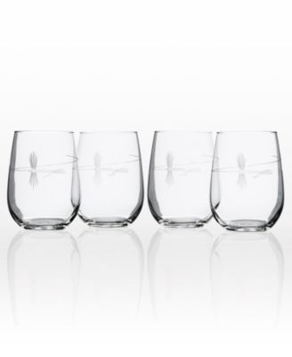 Fly Fishing Double Old Fashioned 14Oz - Set Of 4 Glasses