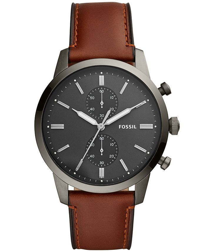 Fossil - Mens Townsman Brown Leather Strap Watch