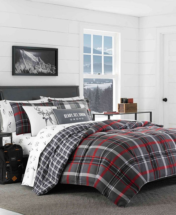 Eddie Bauer - Willow Plaid Dark Grey Comforter Set, King