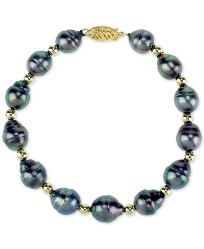Macy's Cultured Baroque Tahitian Pearl (8-10mm) & Bead Bracelet in 14k Gold & Reviews - Bracelets - Jewelry & Watches - Macy's
