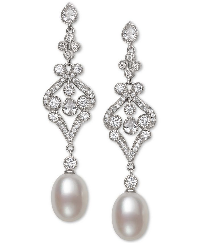 Belle de Mer - Cultured Freshwater Pearl (8-9mm) & Cubic Zirconia Drop Earrings in Sterling Silver, Created for Macy's