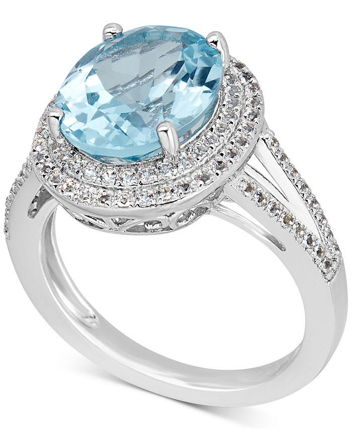Macy's - Blue Topaz (6-1/2 ct. t.w.) & White Topaz (1 ct. t.w.) Ring in Sterling Silver