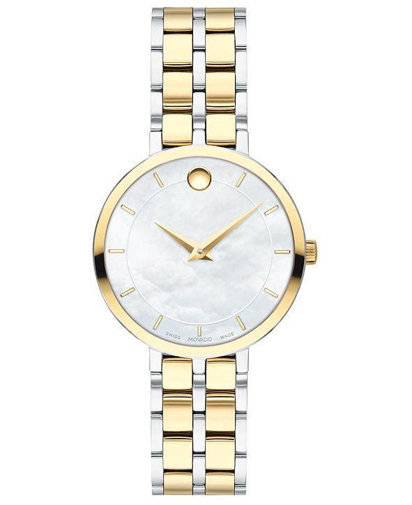 Movado Women's Swiss Kora Two-Tone PVD Stainless Steel Bracelet Watch 28mm
