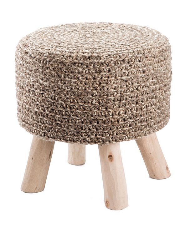 Jaipur Living Montana Knitted Taupe Stool