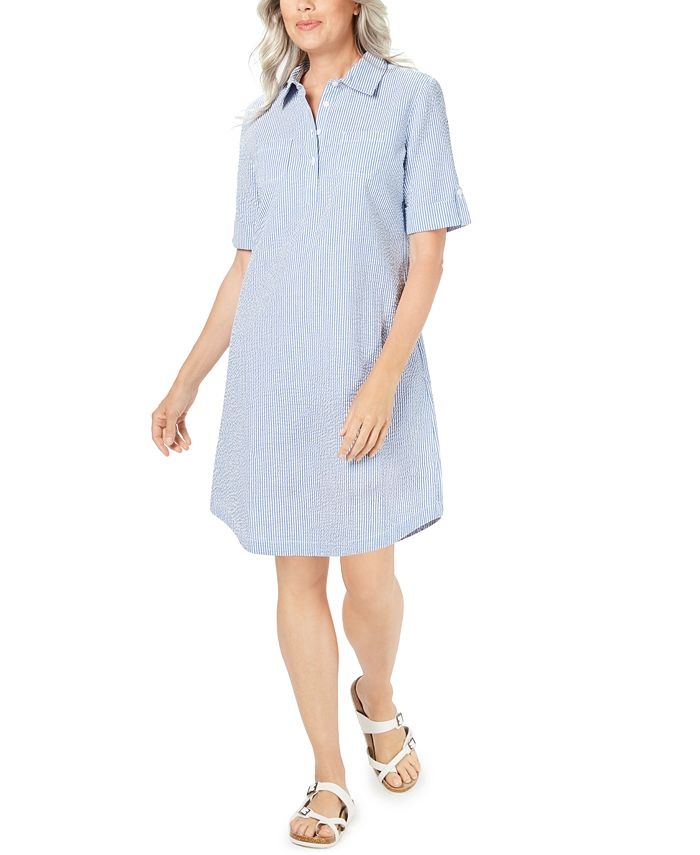 Karen Scott - Petite Seersucker Shirtdress