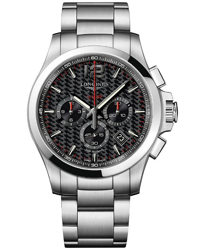 Longines - Men's Swiss Chronograph Conquest V.H.P. Stainless Steel Bracelet Watch 44mm