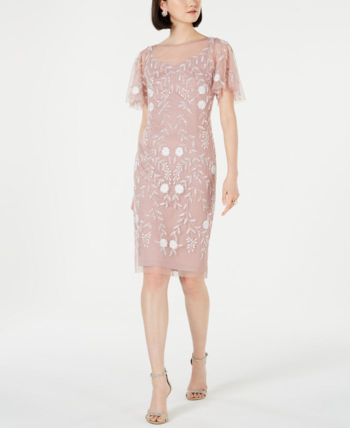 Adrianna Papell - Embellished Flutter-Sleeve Sheath Dress