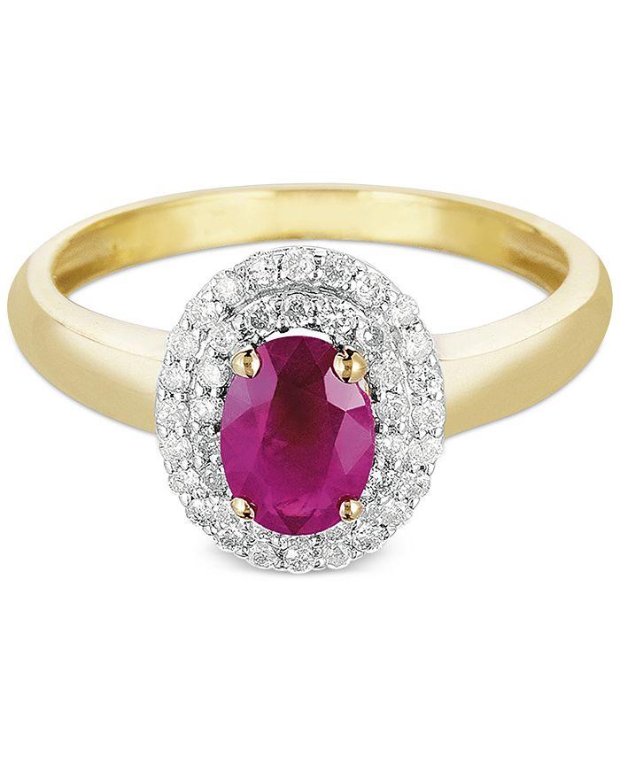Macy's - Ruby (9/10 ct. t.w.) & Diamond (1/4 ct. t.w.) Ring in 10k Gold