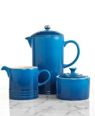 Le Creuset Stoneware French Press with Creamer & Sugar Bowl