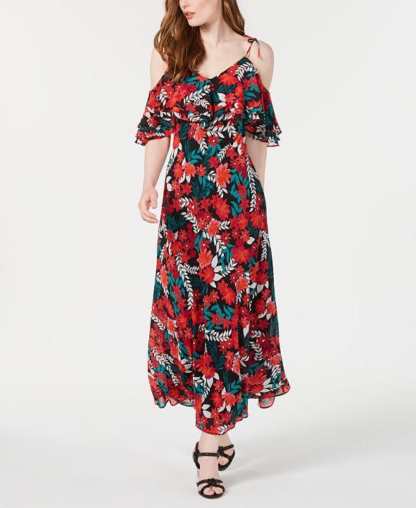 Calvin Klein Floral Printed Cold-Shoulder Maxi Dress