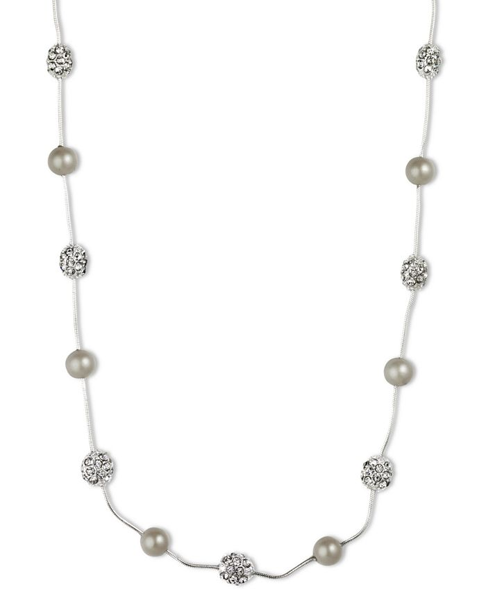 Anne Klein - Silver-Tone Crystal Imitation Pearl Strand Necklace