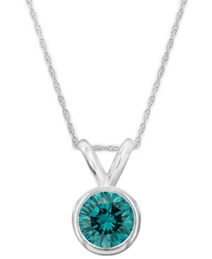 14k White Gold Necklace, Blue Diamond Bezel Pendant (1/2 ct. t.w.)