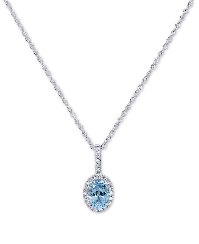"Macy's - Aquamarine (5/8 ct. t.w.) & Diamond (1/10 ct. t.w.) 18"" Pendant Necklace in 14k White Gold"