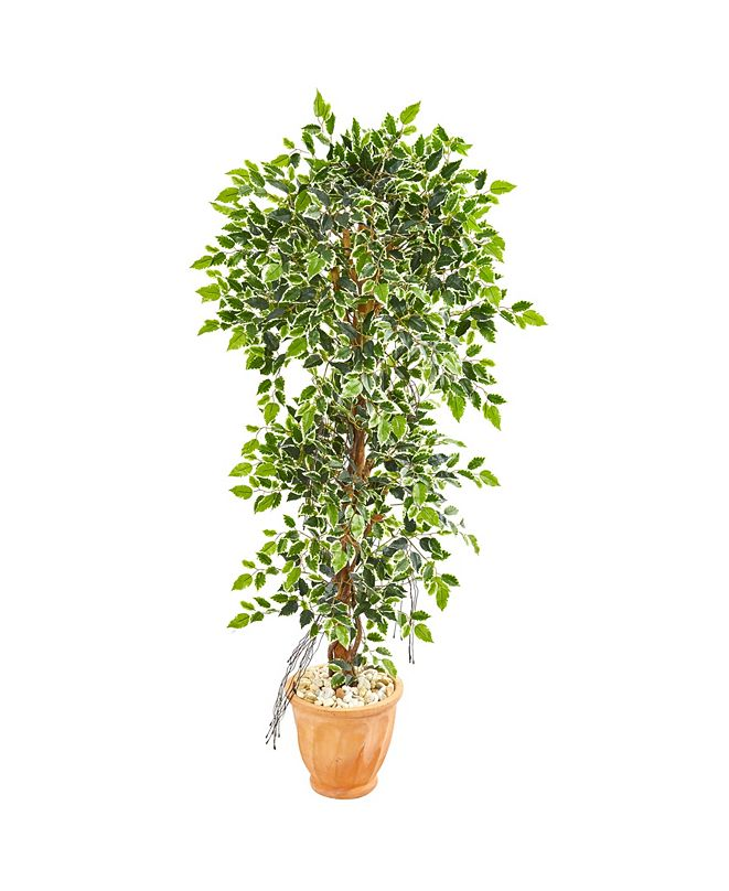 "Nearly Natural 64"" Elegant Ficus Artificial Tree in Terra Cotta Planter"