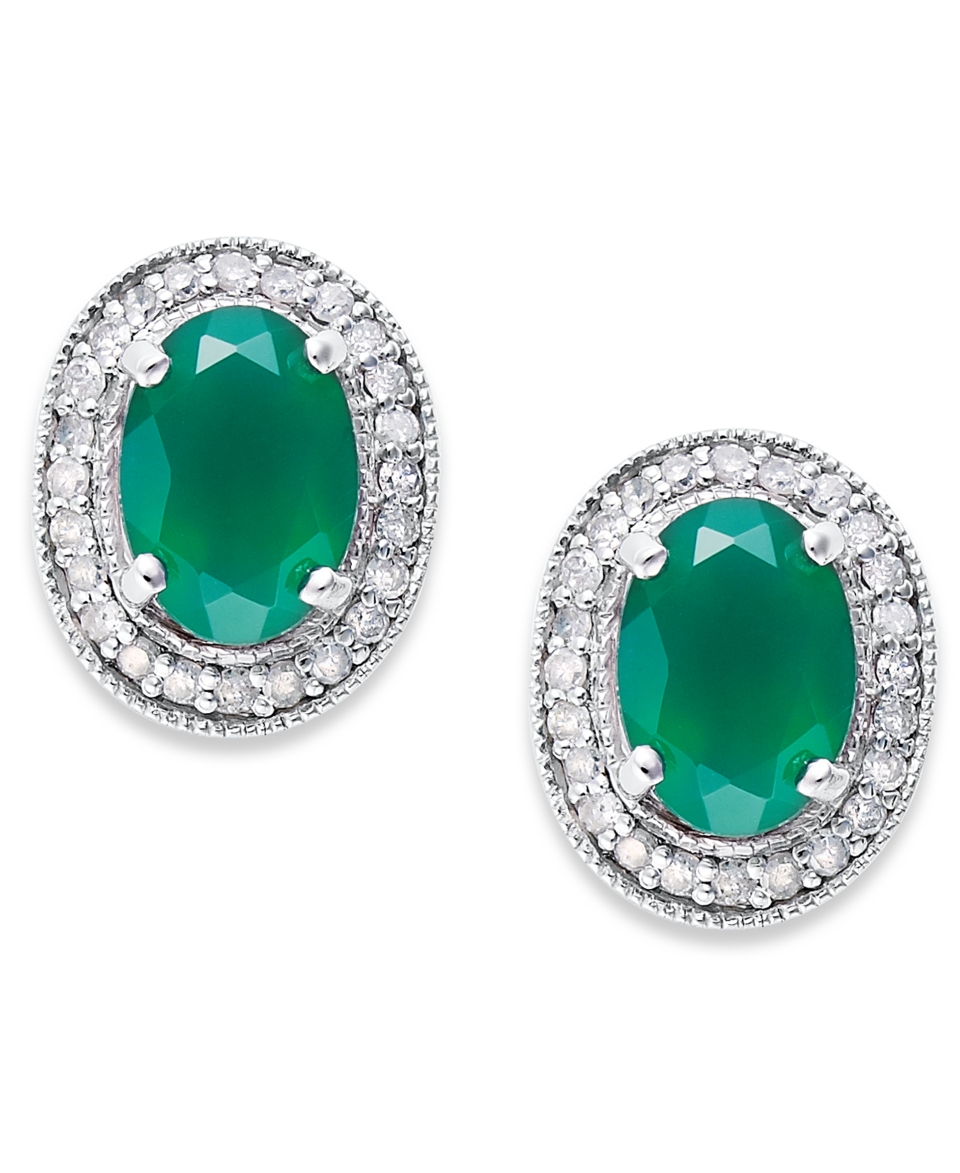 Sterling Silver Earrings, Green Agate (1 3/8 ct. t.w.) and Diamond (1/6 ct. t.w.) Oval Stud Earrings   Earrings   Jewelry & Watches
