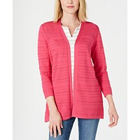 Karen Scott Petite Horizontal-Pointelle Cardigan