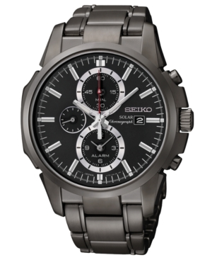 Seiko Watch, Men's Solar Chronograph Black Ion Finish Stainless Steel Bracelet 42mm SSC095