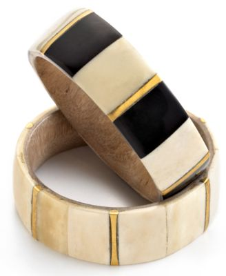 Heart of Haiti Jewelry, Black & White Horn Bangle Bracelet