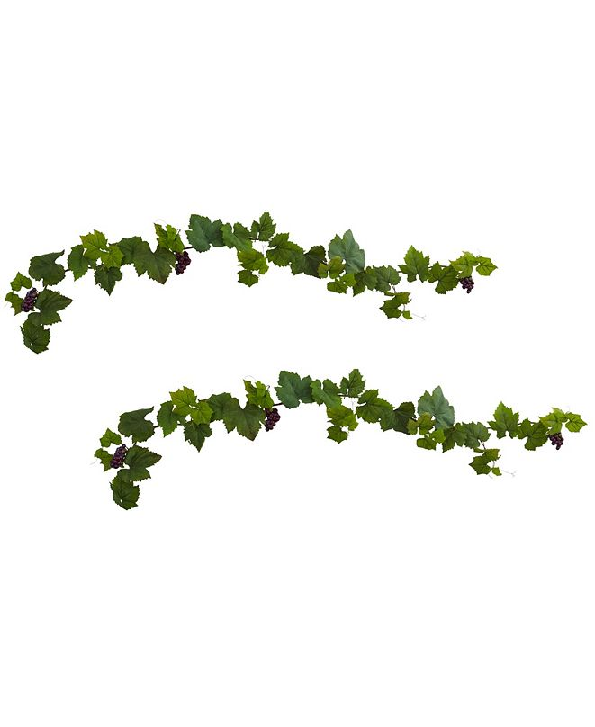 Nearly Natural 6' Grape Leaf Deluxe Garland w/Grapes, Set of 2