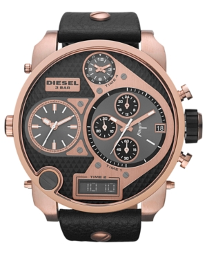Diesel Watch, Analog Digital Chronograph Black Leather Strap 57mm DZ7261 - First @ Macy's!