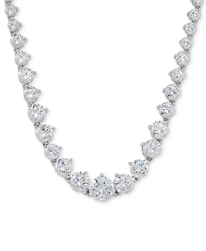 """Arabella - Cubic Zirconia Graduated 17"""" Necklace in Sterling Silver"""