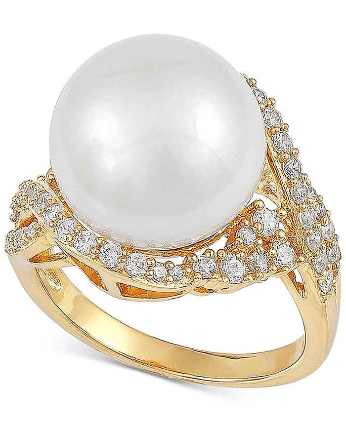 Macy's - Cultured White Ming Pearl (13mm) & Cubic Zirconia Ring in 14k Gold-Plated Sterling Silver