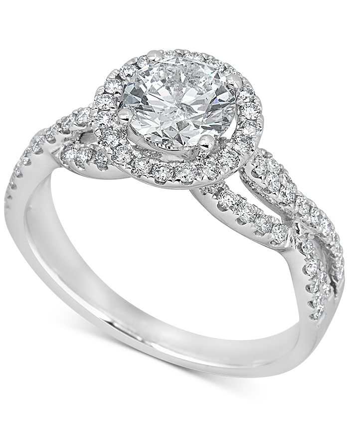 Macy's - Diamond Halo Engagement Ring (1-1/2 ct. t.w.) in 14k White Gold
