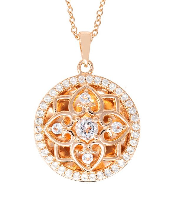 With You Lockets Elsie White Topaz (2-3/4) Photo Locket Necklace in 14k Yellow Gold over Sterling Silver (Also Available in 14k Rose Gold over Sterling Silver)