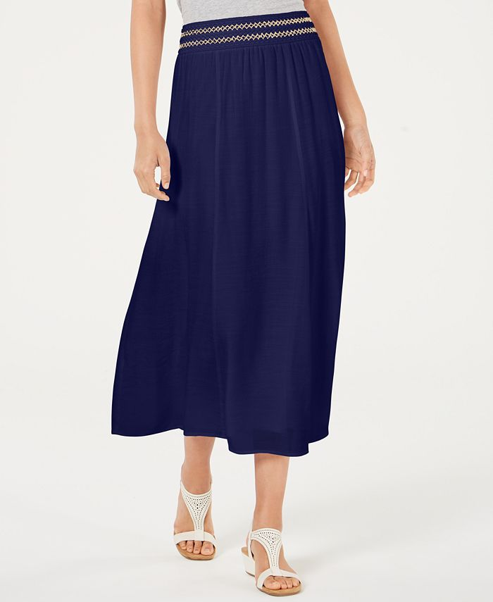 JM Collection - Petite Smocked Gauze Skirt