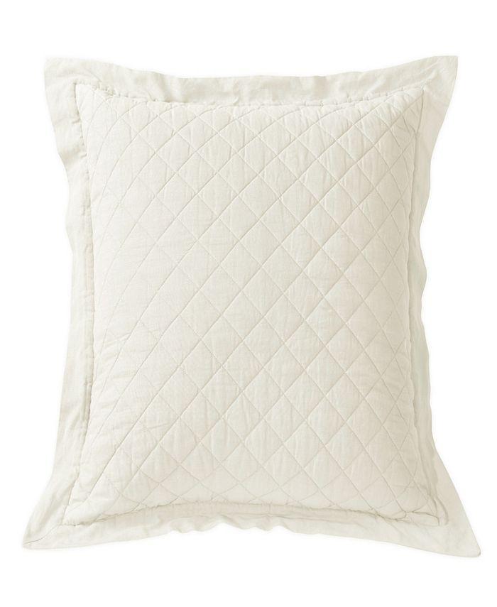 "HiEnd Accents - Diamond Pattern Linen Quilted Euro Sham, 26""X26"" in Vintage White"